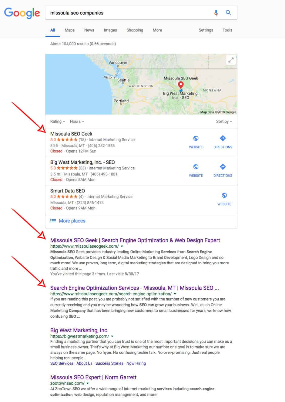 Missoula SEO Search Results